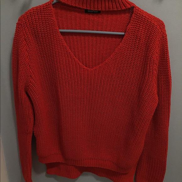 Boohoo Sweaters - Boohoo red choker cutout neck size s/m